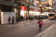 Street view in Hong Kong Central. March, 2017. People on street after work in Hong Kong Royalty Free Stock Photo