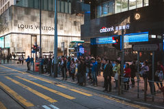 Street view in Hong Kong Central. March, 2017. People on street after work in Hong Kong Stock Image