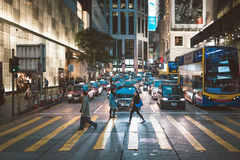 Street view in Hong Kong Central. March, 2017. People on street after work in Hong Kong Stock Photos