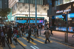 Street view in Hong Kong. March, 2017. People on street after work in Hong Kong Royalty Free Stock Photos