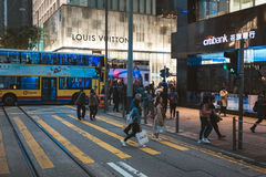 Street view in Hong Kong. March, 2017. People on street after work in Hong Kong Royalty Free Stock Images