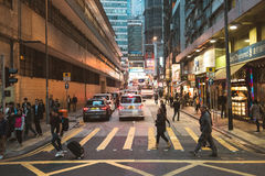 Street view in Hong Kong. March, 2017. People on street after work in Hong Kong Royalty Free Stock Photography