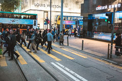 Street view in Hong Kong. March, 2017. People on street after work in Hong Kong Stock Image