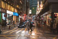 Street view in Hong Kong. March, 2017. People on street after work in Hong Kong Stock Photos