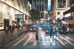 Street view in Hong Kong. March, 2017. People on street after work in Hong Kong Royalty Free Stock Photo