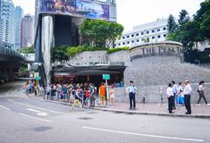 Street View of Hong Kong Peak Tram Station stock image