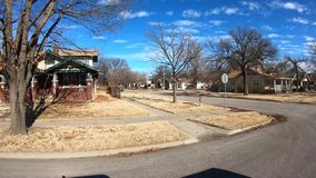 Street view houses in an older neighborhood stock footage