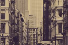 Free Street View In New York City With Old Historic Buildings In Sepia Tone Color Royalty Free Stock Photos - 146247218