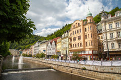 Street view in Karlovy Vary, hotels in Karlovy Vary Stock Images