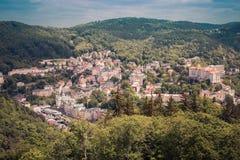 Street view in Karlovy Vary, hotels in Karlovy Vary Royalty Free Stock Image