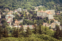 Street view in Karlovy Vary, hotels in Karlovy Vary Stock Photos