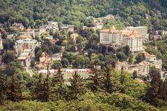 Street view in Karlovy Vary, hotels in Karlovy Vary Stock Photos