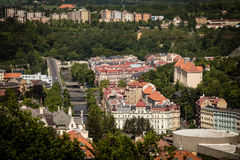 Street view in Karlovy Vary, hotels in Karlovy Vary Royalty Free Stock Photo