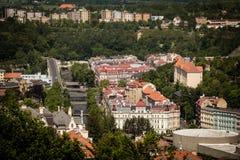 Street view in Karlovy Vary, hotels in Karlovy Vary Royalty Free Stock Photo