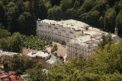 Street view in Karlovy Vary, hotels in Karlovy Vary Royalty Free Stock Photography