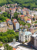 Street view in Karlovy Vary, hotels in Karlovy Vary Royalty Free Stock Images