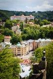 Street view in Karlovy Vary, hotels in Karlovy Vary Stock Photo
