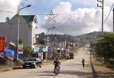 Street view of Lai Chau, Vietnam. LAI CHAU, VIETNAM: Street view of Lai Chau on Sep 13, 2010. Located at the extreme northwest corner of Vietnam, Lai Chau is the Royalty Free Stock Image