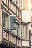 Street view and lamp with alsace building Strasbourg, Royalty Free Stock Images
