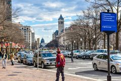 Street view and life near Capitol Building, Washington Monument and Holocaust Memorial Museum. Washington DC, USA. Street view and life near Capitol Building Royalty Free Stock Photos