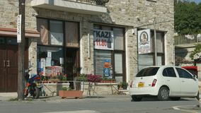 Street view in little mountain village, Cyprus. Grocery store. Vacation, tourism. Stock footage stock footage