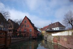 Street view from Little Venice Boat Tour, Colmar, France royalty free stock photo