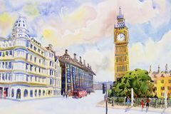 Street view in London Red Bus at England. Street view in London Red Bus traditional old at England. Watercolor painting colorful illustration landscape royalty free illustration