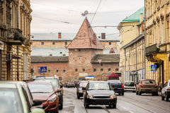 Street view of Lviv with Armory, Ukraine Stock Image