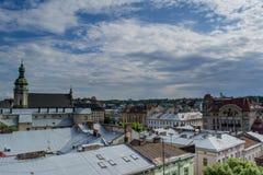 Street view in the Lviv city. In Ukraine Stock Photos