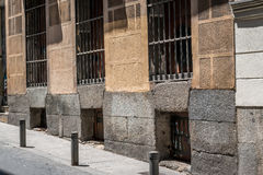 Street view in Madrid, Spain. On  a sunny day Stock Photos