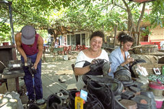 Street view Managua with shoemaker and shoeblack Stock Photography