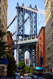 Street view of Manhattan Bridge Royalty Free Stock Photography