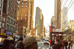 Street view of manhattans busy Royalty Free Stock Image