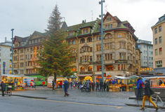 Street view of Marktplatz in the Old City of Basel Royalty Free Stock Image
