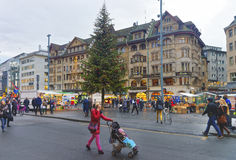 Street view of Marktplatz in the Old Town of Basel Royalty Free Stock Photo