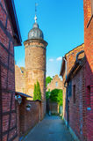 Street view in the medieval Bedburg Alt-Kaster, Germany Royalty Free Stock Photos