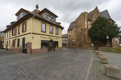 Street view of a medieval town Buedingen Royalty Free Stock Image