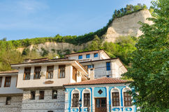Street view of Melnik traditional architecture, Bulgaria Royalty Free Stock Photos