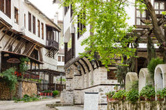 Street view of Melnik traditional architecture, Bulgaria stock photography