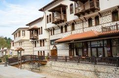 Street view of Melnik traditional architecture, Bulgaria Royalty Free Stock Photos