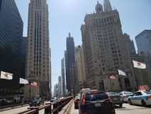 Downtown Chicago. Street view on Michigan Avenue in downtown Chicago bridge over Chicago river Stock Photography