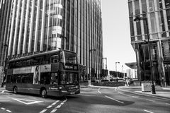 Street view at modern Canary Wharf business district in London - LONDON - GREAT BRITAIN - SEPTEMBER 19, 2016. Street view at modern Canary Wharf business Royalty Free Stock Photos