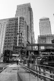 Street view at modern Canary Wharf business district in London - LONDON - GREAT BRITAIN - SEPTEMBER 19, 2016. Street view at modern Canary Wharf business Royalty Free Stock Photo