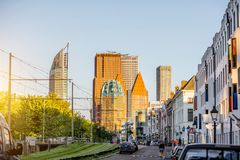 Haag city in Netherland. Street view on the modern office district with skyscrapers during the sunset in Haag city, Netherlands Stock Photography