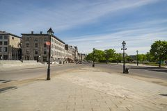 Street view in Montreal, Quebec region Canada. MONTREAL, CANADA - MAY 28: architecture and street view of the one of the most important city in Quebec on May 28 royalty free stock photos