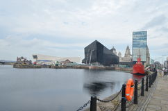 Street View of Museum of Liverpool and Open Eye Gallery in Liverpool, England Stock Photos