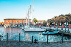 Street view of Naples harbor with boats Stock Photos