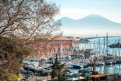 Street view of Naples harbor with boats Stock Photo