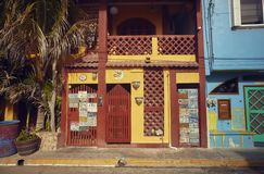 Colorful Mexican building. Street view of a neighborhood of Isla Mujeres in Mexico: You can see the palaces and the colored houses that form the urbanism of this royalty free stock photography