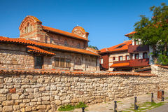 Street view of Nesebar, Bulgaria. Typical revival house Royalty Free Stock Photo